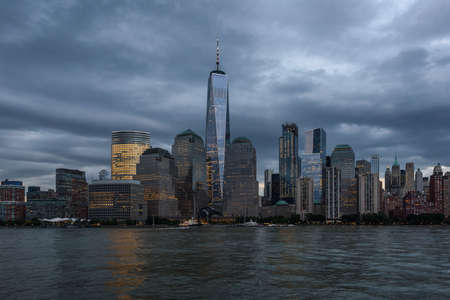 The waterfront of the business district of Lower Manhattan, New York Stock Photo