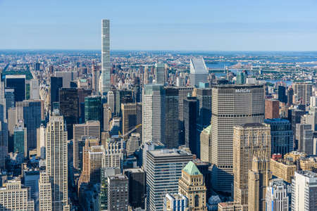 New York City, USA - July 5 2017 - aerial view of the buildings of Manhattan