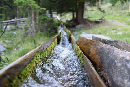 Water canalization made of wood built to irrigate the fields (called roggia)