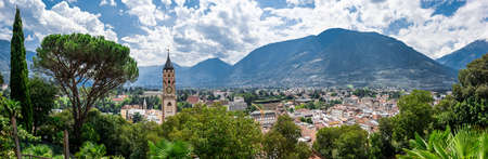 The town of Meran sorrounded by mountains in South Tyrol Editorial