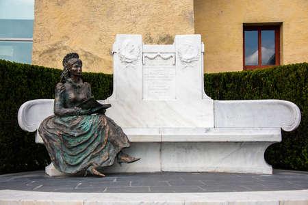 Statue of Sisi, Elizabeth of Bavaria, Empress of Austria, in Trauttmansdorff Castle in Meran, South Tyrol