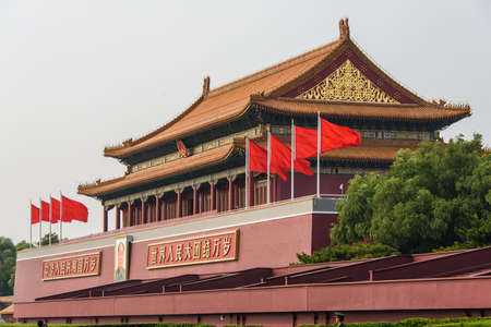 The Tiananmen Gate on the north side of Tiananmen Square in Beijing