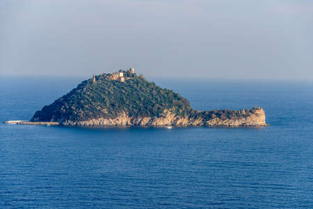 The island of Gallinara or Isola dAlbenga, in the ligurian sea, facing the village of Albenga