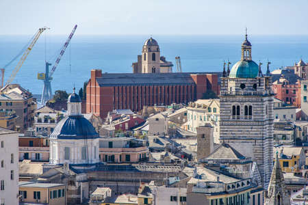 Cityscape of Genoa with its roofs and towers from Spianata Castelletto