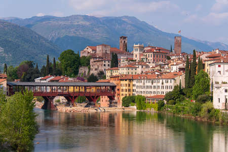 View over the village of Bassano del Grappa, famous for its bridge