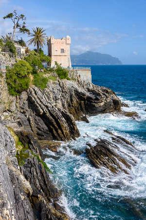 The cliffs of Nervi, village of Genoa on the italian riviera 스톡 콘텐츠