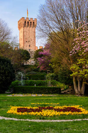 The main tower of the Carrarese Castle in the old town of Este, Veneto, Italy