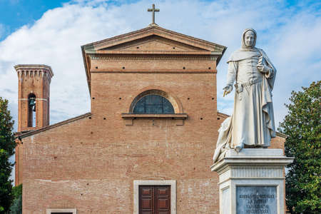 Statue of Giovanni Boccaccio in the place of Certaldo, his country of birth