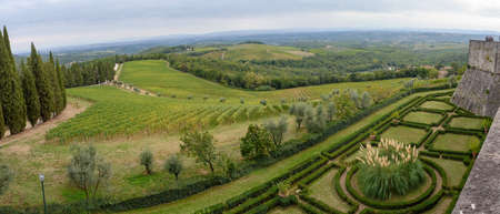 The hills, gardens and vineyards near the Brolio Castle in Chianti, Tuscany