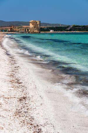 White beach and wonderful seewater in Le Saline, Stintino, Sardinia 스톡 콘텐츠
