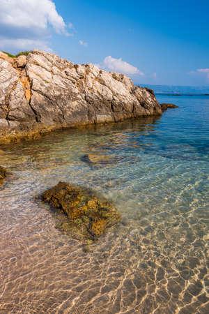 The transparent seewater of Sardinia in the Lazzareto Beach of Alghero