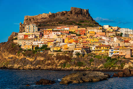 View from the coast of the old village of Castelsardo in Sardinia