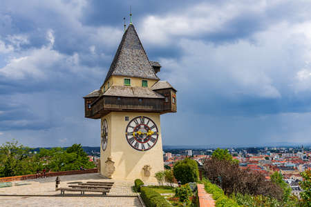 The Uhrturm at the top of Schlossberg, symbol of Graz, in Styria, Austria Stock Photo