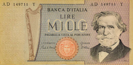 Old italian banknote of Thousand lira representing Giuseppe Verdi