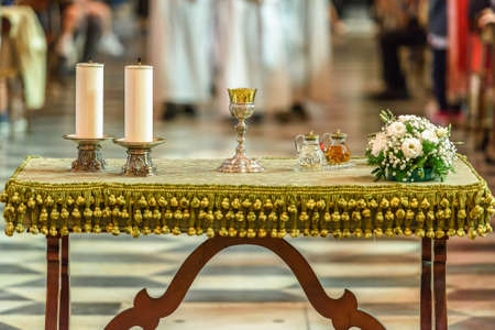 Table ready for the rite of the Holy Communion, during the catholic mass