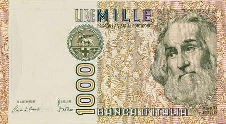 Old italian banknote of Thousand lira representing Marco Polo Standard-Bild
