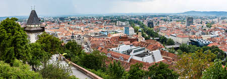 View of the old town of Graz from the Schlossberg, in Styria, Austria