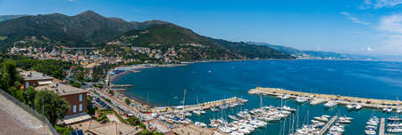 View of the coast and the village of Arenzano in the italian Riviera