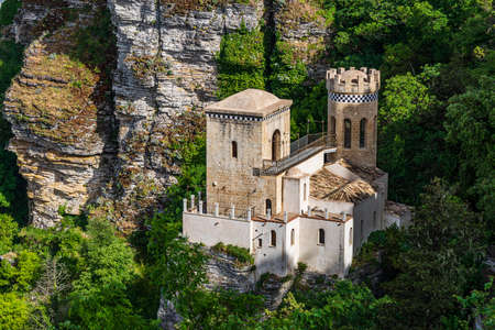 Torretta Pepoli built in ecletic style at the end of 19th Century under the Venus Castle in the old town of Erice, Sicily Standard-Bild
