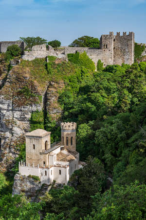Venus Castle and Torretta Pepoli at the top of the old town of Erice, Sicily, from the Norman times
