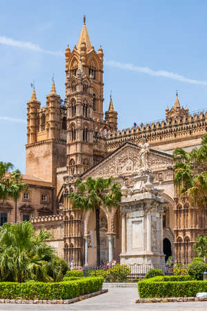 Clock Tower of the Palermo Cathedral: the cathedral church of the Roman Catholic Archdiocese of Palermo, located in Sicily, southern Italy. It is dedicated to the Assumption of the Virgin Mary