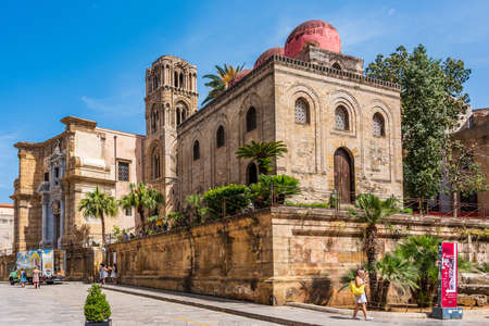 The Church of San Cataldo with its 3 red domes in the old town of Palermo, Sicily