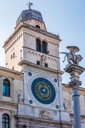 The Astronomical clock as seen from Piazza dei Signori in the old town of Padua, Italy