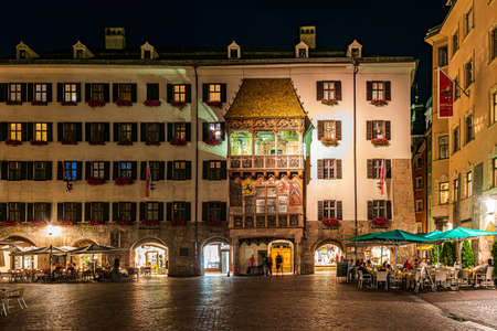 INNSBRUCK, AUSTRIA - 21 JULY, 2019: The Golden Roof in the old town of Innsbruck, symbol of the town Editorial