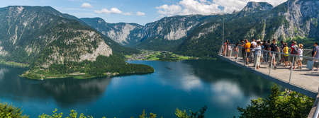 HALLSTATT, AUSTRIA - 1 AUGUST, 2019: Viewpoint at the top of Hallstattersee in the heart of Salzkammergut