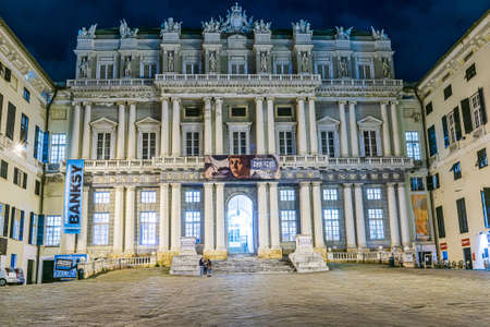 GENOA, ITALY - 27 JANUARY, 2020: The Doge's Palace is a historical building in Genoa. Once the home of the Doges of Genoa, it is now a museum and a centre for cultural events and arts exhibitions Editorial