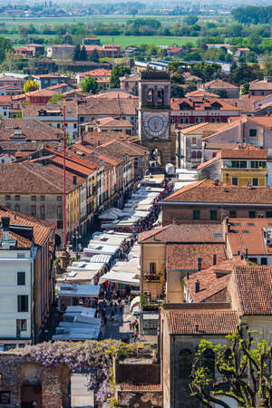 The old town of the walled town of Este, in Veneto, taken from the tower of the Carraresi Castle