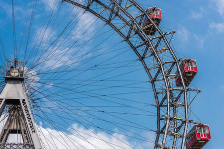 The Wiener Riesenrad (Vienna Giant Wheel), famous icon of Vienna in the amusement park of Prater