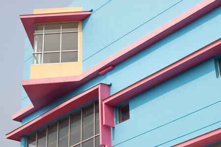 modern building . colorful office design . vintage and minimal facade wall pattern . pink and blue construction asian style .