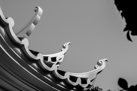black and white china roof style . emperor palace building . Chinese temple in Bangkok Thailand .