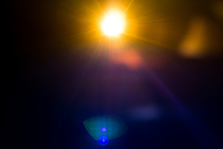beautiful color of solar shiny . abstract glow bright sunlight . nature realistic flare and bokeh for background . Stock Photo