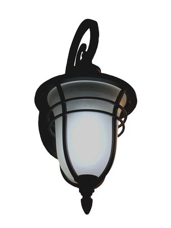 A electric lamp is modern and vintage . object interior . decorate on white background .  black equipment for lighting . loft style .