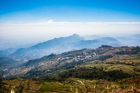 high mountain landscape view with blue sky cloudy , fog around hill . beautiful scene peak wildlife in winter . traveller way . nature national park at phu tub berk , phet cha bun , Thailand