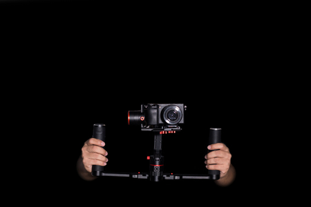 Object for smooth video production make movie. isolated. camera stabilizer automatic system.
