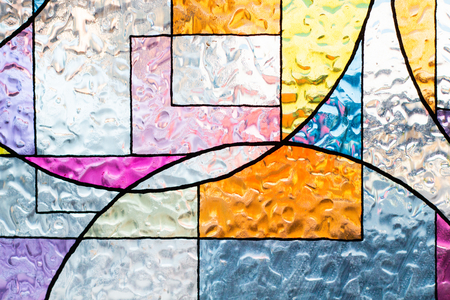 stained colorful christ glass . abstract multicolor Stock Photo