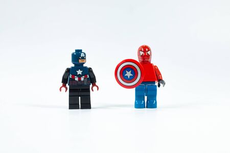 Bangkok Thailand-Aug2018: marvel avenger collection superhero , captain america and spiderman with shield on white background , funny concept minifigures toys for children .