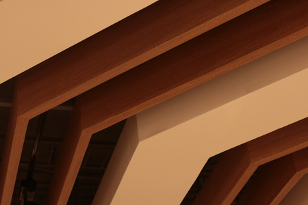 architecture ceiling modern loft style , wooden material .