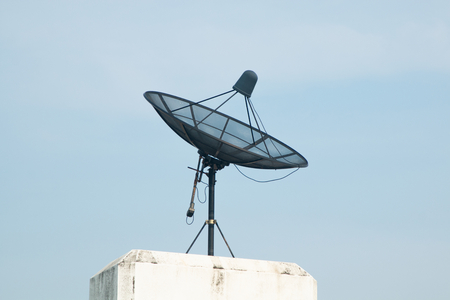 satellite dish receiver and blue sky background