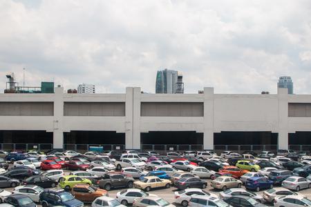 Bangkok Thailand-22 Oct 2018 : car park have many cars in row are tidy