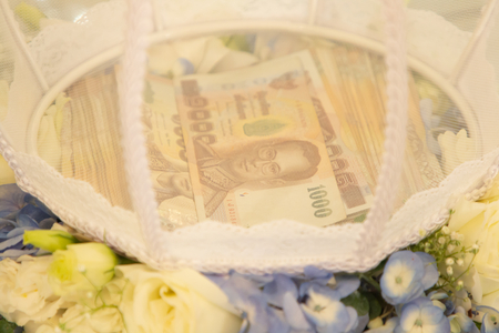 Dowry money wedding , thai bank notes