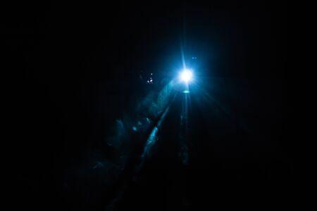 Studio spotlight using for background production film . silhouette blur Studio led lighting . vintage production for movie smoke in dark room . electric equipment for photography , video maker tte obj