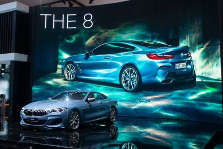 Nonthaburi , Thailand - Dec 6, 2018: BMW the 8 Series Coupe blue color in motor expo