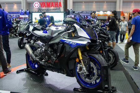 Thailand - Dec , 2018 : close up body of Yamaha R1M motorbike presented in motor expo Nonthaburi Thailand Editorial