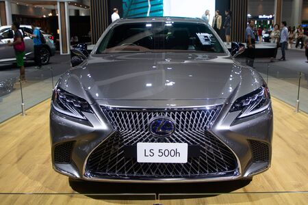 Thailand - Dec , 2018 : close up front view of Lexus LS 500h hybrid sports car presented in motor expo Nonthaburi Thailand .