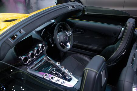 Thailand - Dec , 2018: Mercedes benz AMG GTC series in side car , close up Steering , wheel seat and electricity equipment . Convertible sports car