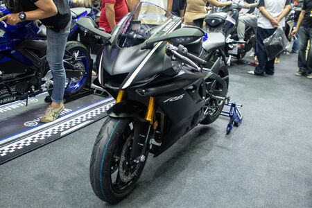 Thailand - Dec , 2018 : close up front view of black Yamaha R6 motorbike presented in motor expo Nonthaburi Thailand